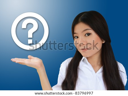 Business woman showing question symbol - stock photo