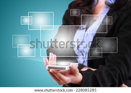 business woman showing technology of modern tablet phone template and functions - stock photo