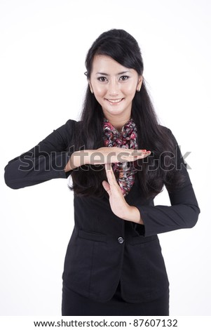 Business woman showing time out geture hand isolated on white background - stock photo