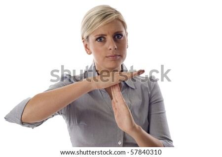 Business woman showing time out sign with hands isolated over a white background - stock photo