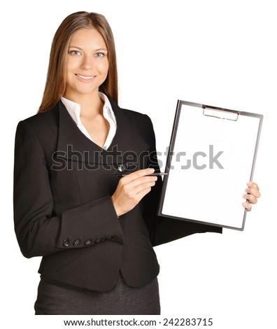 Business woman shows ballpoint pen on clipboard - stock photo