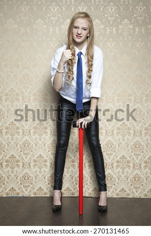 business woman shows her strength - stock photo
