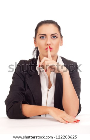 Business woman shushing - stock photo