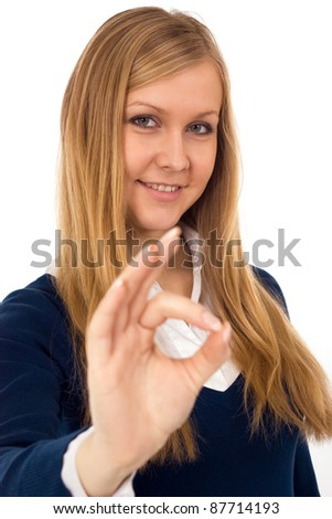 Business woman signaling ok - isolated over white - stock photo