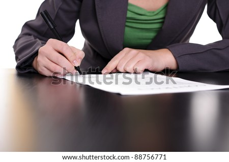 business woman signing contract;business concepts.