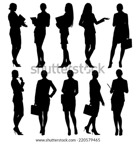 Business woman silhouettes. Isolated on white background - stock photo