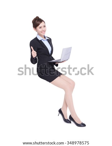 business woman sit ans show thumb up with laptop computer isolated on white background, asian beauty - stock photo