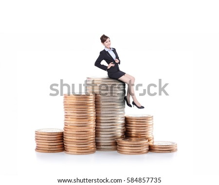 business woman sit on money stairs isolated over the white background