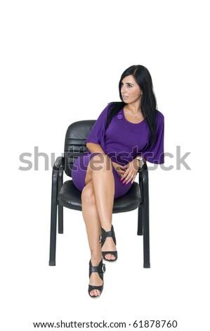 Business woman sitting - stock photo