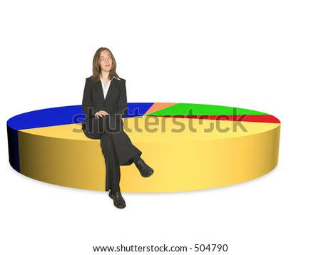 business woman sitting on biggest portion of a pie chart - over white - stock photo