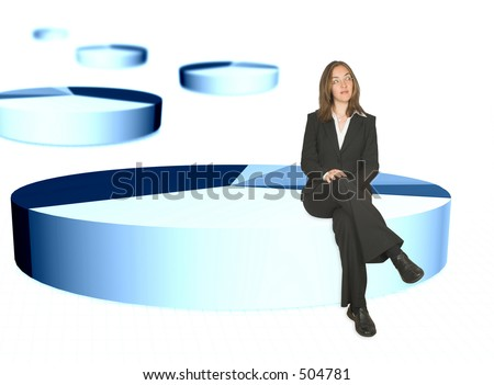 business woman sitting on the biggest portion of a pie chart - stock photo