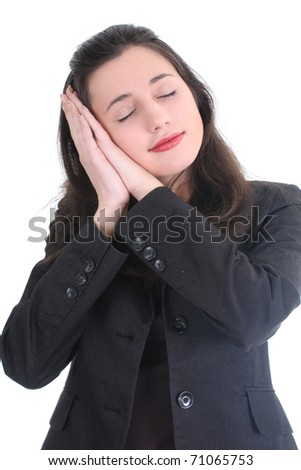 Business woman sleeping and dreaming about future over white - stock photo