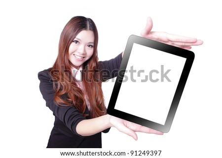 Business woman smile and showing tablet pc isolated on white background, model is a asian beauty - stock photo