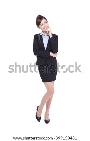 business woman smile happy look and think something isolated on white background, asian beauty - stock photo
