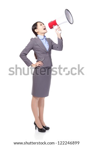 Business woman smile with a megaphone and enjoys victory in full length isolated on white background, model is a asian beauty