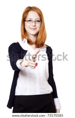 Business woman smiling and hold hand for handshake. Studio shot. - stock photo