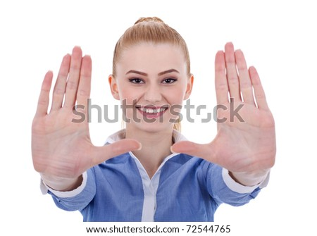Business woman smiling and making framing hand gesture - isolated on white - stock photo