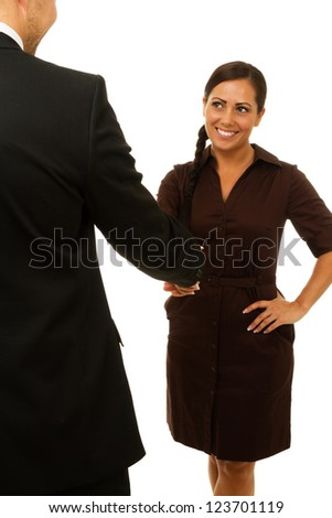 Business woman smiling and shaking hands. Isolated on white. - stock photo