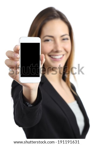 Business woman smiling showing a blank smart phone screen isolated on a white background       - stock photo