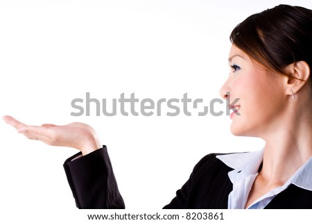 business woman smiling with an empty palm