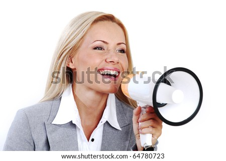 business woman speak in megaphone - stock photo