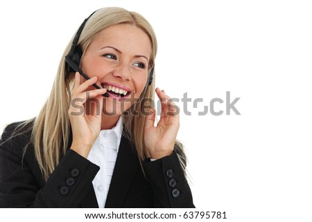 business woman speak with headset - stock photo