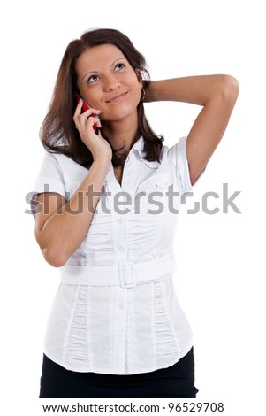 Business woman speaking on the phone. Isolated on the white background