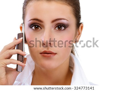 Business woman speaks on phone, isolated on white background. - stock photo