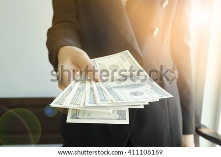 business woman  Spread of Cash financial concept  - stock photo