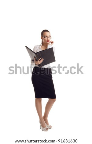 business woman stand with big ledger book isolated