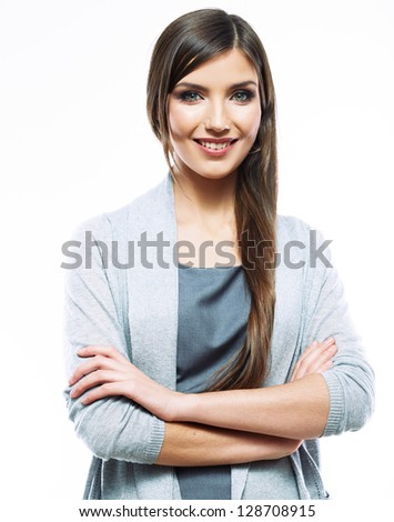 Business woman standing against white background. Smiling female business model studio posing. White background isolated .
