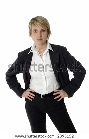 business woman standing and looking on white - stock photo