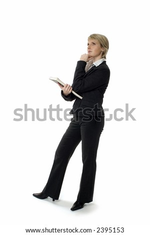 business woman standing and looking up on white - stock photo