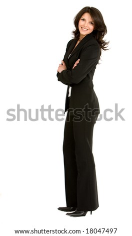 Business woman standing and smiling isolated over a white background - stock photo