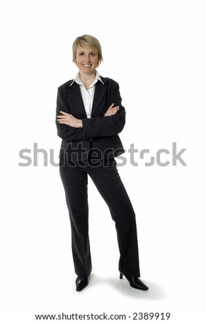 business woman standing and smiling on white - stock photo