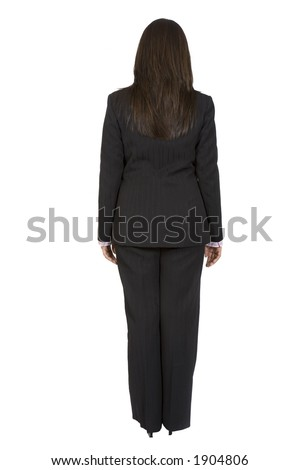 business woman standing backwards over white