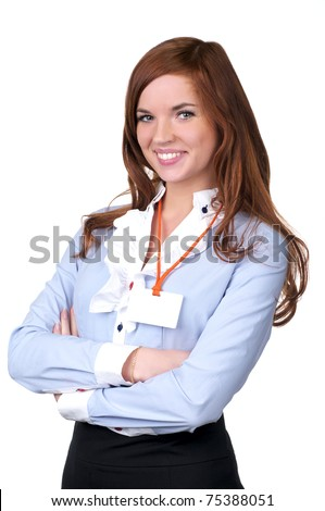 Business woman standing casually over white background - stock photo
