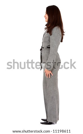 business woman standing from the side isolated over a white background - stock photo