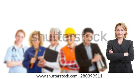 Business woman standing in front of a team with different occupations and trades - stock photo