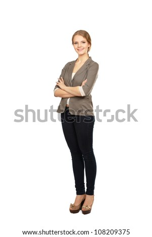 Business woman standing in full length isolated on white background. .