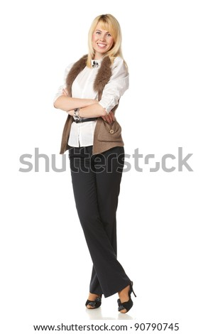 Business woman standing in full length isolated on white background - stock photo