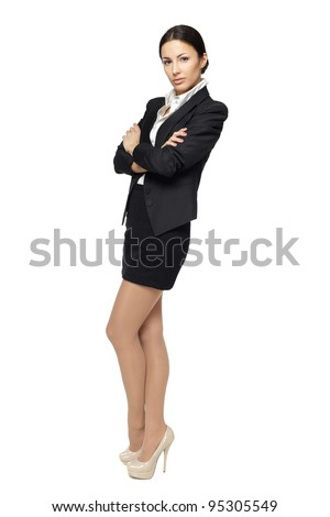 Business woman standing in full length with folded hands, isolated on white - stock photo