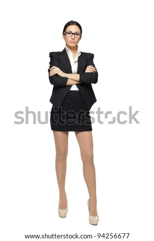 Business woman standing in full length with folded hands, isolated on white background