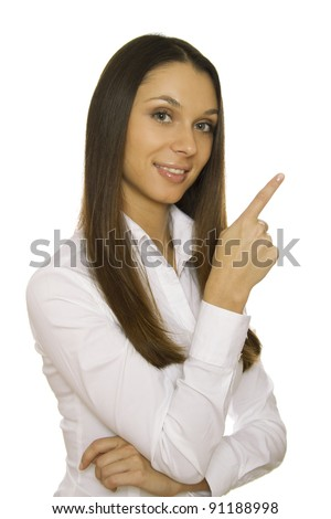 Business woman standing sideways, arms crossed, and one hand rests. Isolated - stock photo
