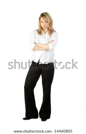 Business Woman Standing with her arms folded. - stock photo