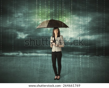 Business woman standing with umbrella data protection concept on background  - stock photo