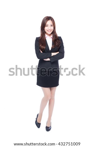 business woman stands in full length,crossing her arms,asia beauty
