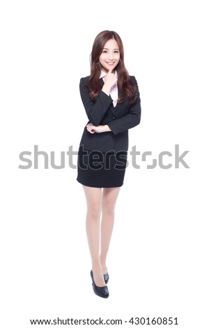 business woman stands in full length,thinking something,asia beauty