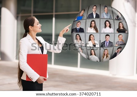 Business woman stands near ball collage - stock photo