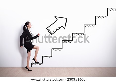 Business woman stepping up on stairs to gain her success with white wall background, asian - stock photo